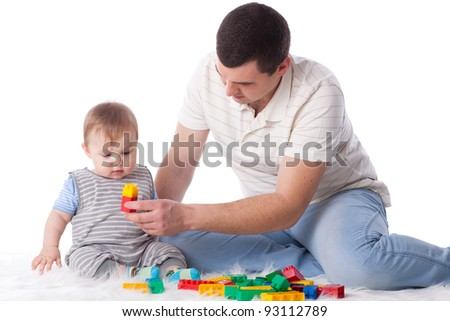 Sweet small baby with toy on a white background. - stock photo