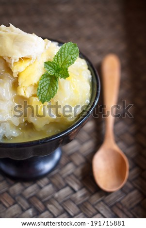 Sweet Sticky Rice With Durian And Coconut Milk Sauce
