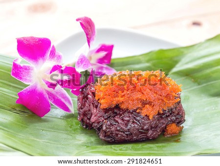 Sweet sticky rice with shrimp topping,thai dessert - stock photo