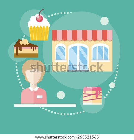 Sweet store concept in flat design with seller near chocolate muffins donuts cakes and candies. Raster version - stock photo