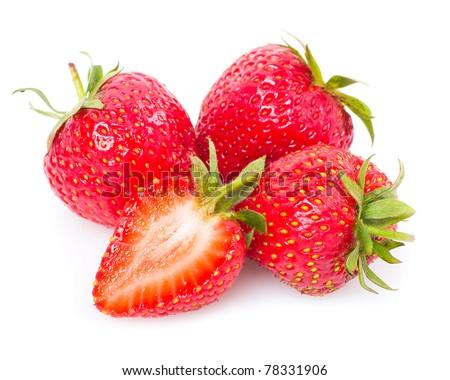 Sweet strawberry isolated on the white background - stock photo