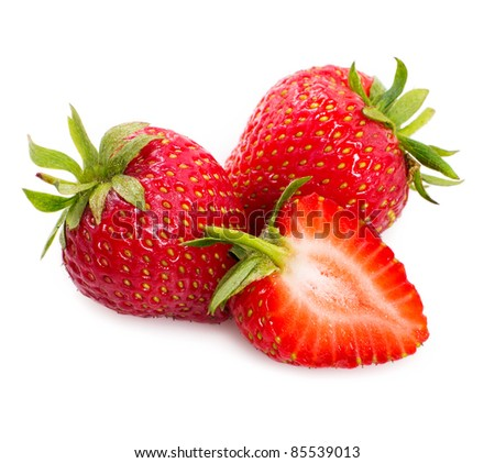 sweet strawberry on white background - stock photo