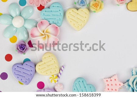 Sweet sugar candy background card design with hearts and flowers