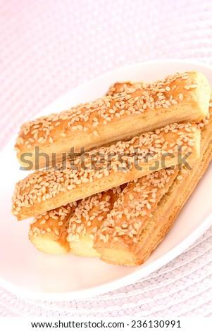sweet tasty cake on white plate - stock photo