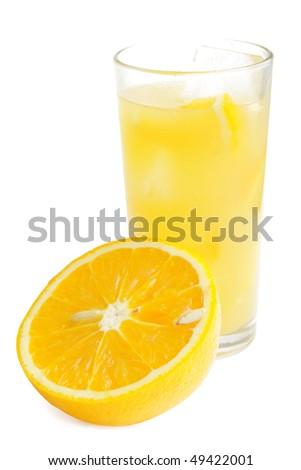Sweet tasty orange juice on white background (isolated)