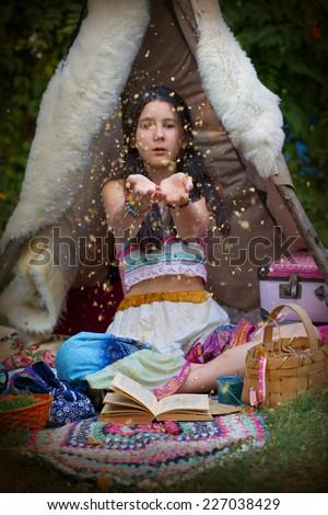 Sweet teen girl dressed like a gypsy - stock photo