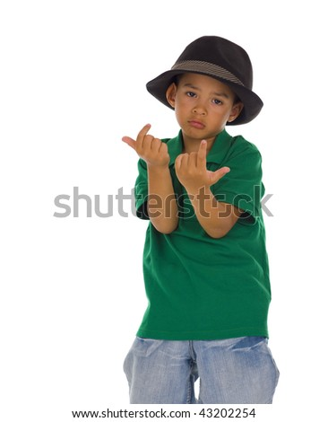sweet thai-english boy with hat, isolated on white - stock photo