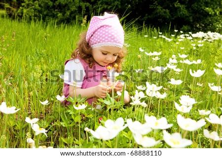 Sweet toddler girl examining white flowers - stock photo