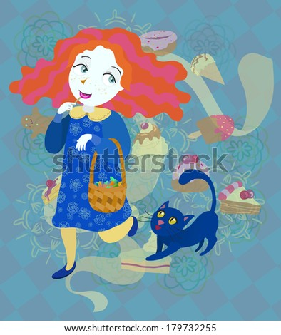 Sweet-tooth and her cat - raster version - stock photo