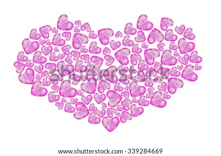 Sweet various sizes of pink heat shape beads isolated on white background in heart shape