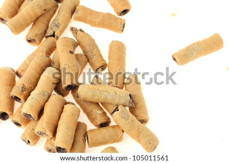 sweet wafer on white background