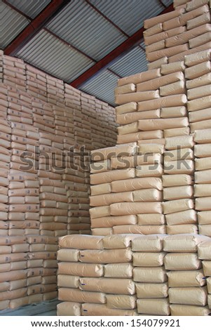 Sweet Wall - Sugar in a Warehouse - stock photo