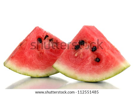 Sweet watermelon slices isolated on white - stock photo