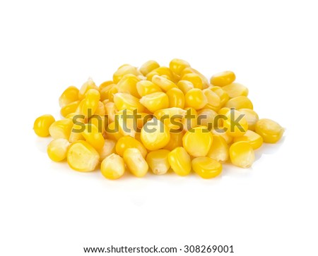 Sweet whole kernel corn on white background - stock photo