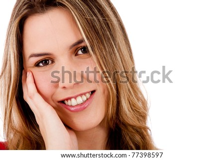 Sweet woman portrait smiling ? isolated over a white background - stock photo