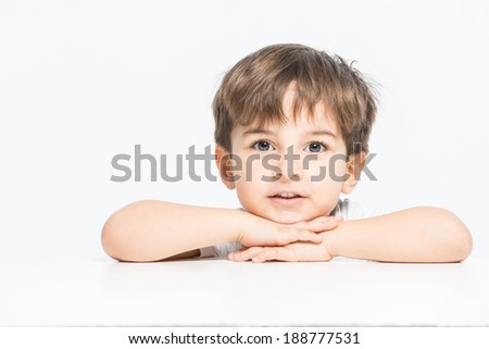Sweet 3 years old kid with open eyes and great expression posing - stock photo