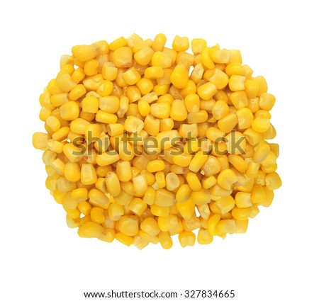 Sweet yellow corn grain isolated on the white background - stock photo