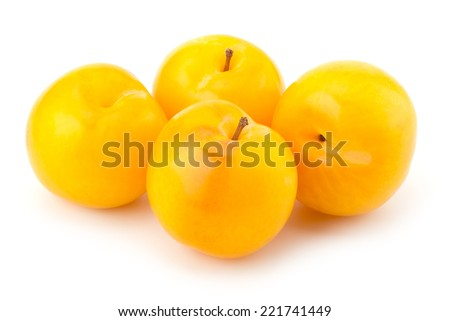 Sweet yellow plum isolated on white background cutout - stock photo