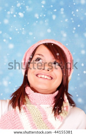 sweet young girl enjoying in snow l