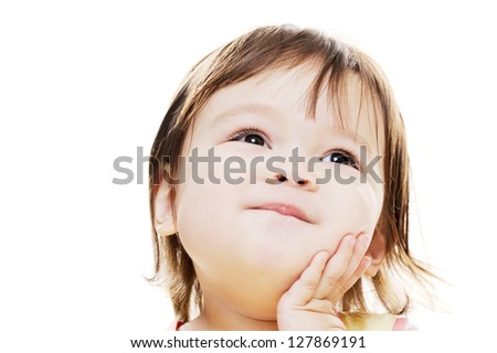 Sweet young girl looks happy and posing - stock photo