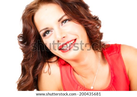 sweet young woman in bright dress on white background isolated