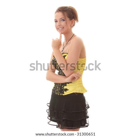 Sweet young woman in yellow/black dress - stock photo