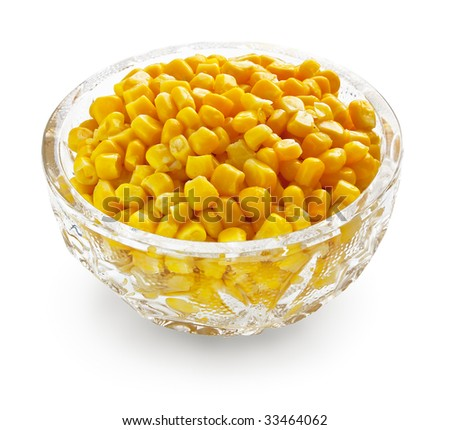 Sweetcorn in crystal bowl - stock photo