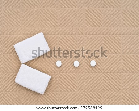 Sweeteners - sugar cubes and artificial sweeteners - aspartame etc - stock photo