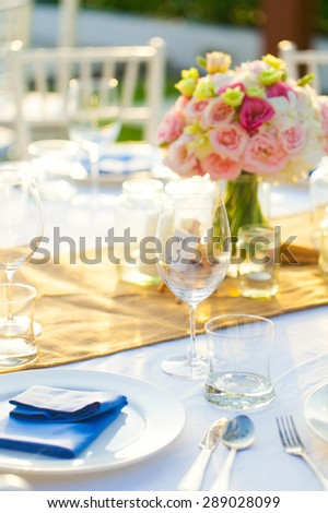 Sweetheart table detail of the wedding decoration set up outside