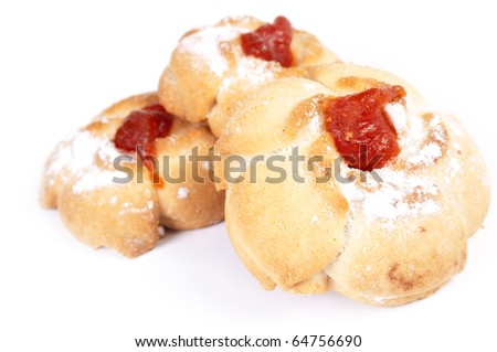 Sweetnesses. Sweet tasty cookies on a white background