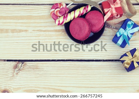 sweets and gifts with copy space - stock photo