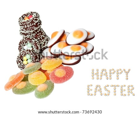 sweets and wishes for a happy Easter isolated on white