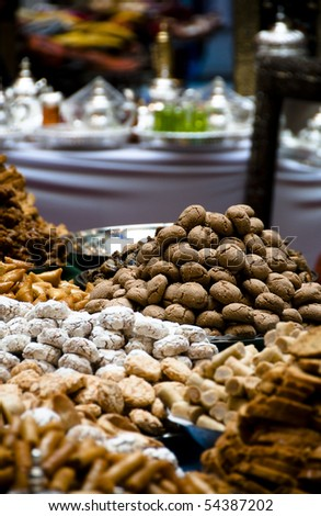 Sweets at moroccan market - stock photo