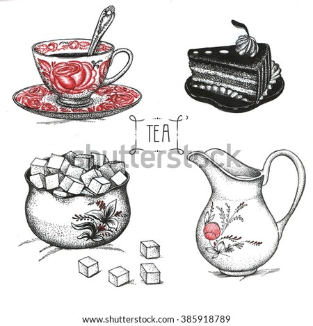 Sweets, cakes, milk and tea, art drawings - stock photo