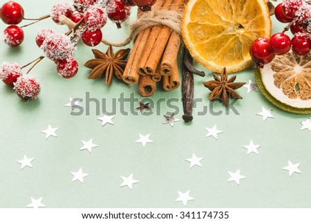 Sweets cinnamon, vanilla, dried fruit and cloves. Traditional Christmas spices - stock photo