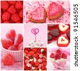 Sweets for valentine's day collage - stock photo