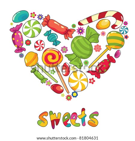 Sweets heart. Illustration with different types of sweets