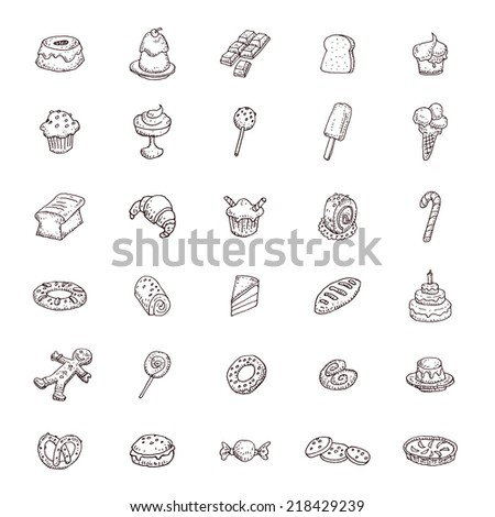 Sweets icons set, illustration.