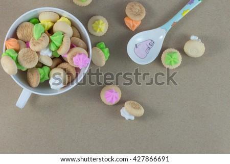 Sweets, snacks, beverages, milk for children. - stock photo