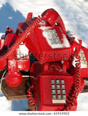 "Swicthboard at the North Pole: ""We are sorry, call volume is higher than usual so wait time may be longer than normal"" - stock photo"
