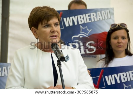 SWIDNIK, POLAND - AUGUST 21, 2015: Beata Szydlo during parliamentary election campaign, candidate for Prime Minister meets with electorate