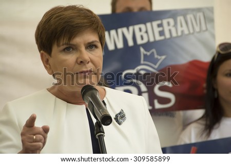 SWIDNIK, POLAND - AUGUST 21, 2015: Beata Szydlo during parliamentary election campaign, candidate for Prime Minister meets with electorate - stock photo