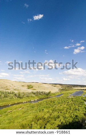 Swift Current Creek near Stewart Valley, in Saskatchewan, Canada - stock photo
