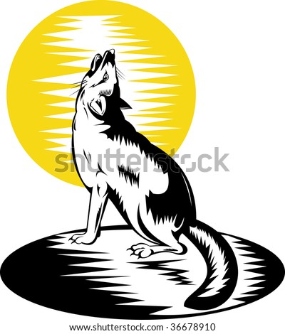 Swift fox or wolf howling at the moon - stock photo