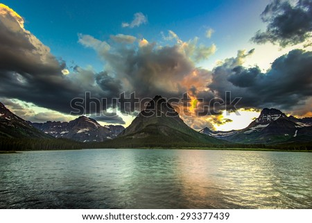 Swiftcurrent Lake, Glacier National Park Sunset - stock photo