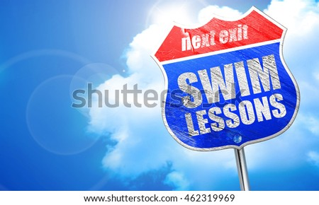 swim lessons, 3D rendering, blue street sign