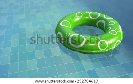 Swim Ring in Pool - stock photo