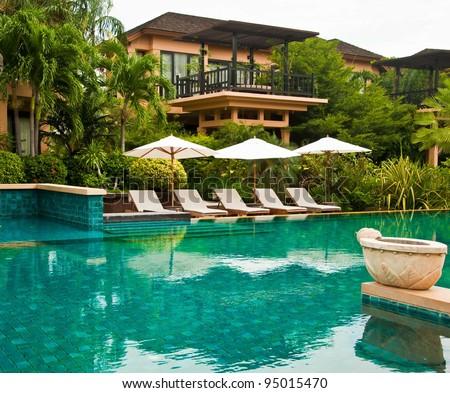 Swiming pool in the hotel, Hua-Hin, Prachubkirikhan, Thailand - stock photo