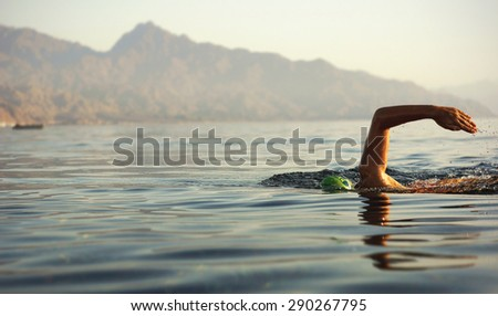 Swimmer at sea   - stock photo