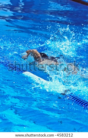 Swimmer full effort  in the olympic pool
